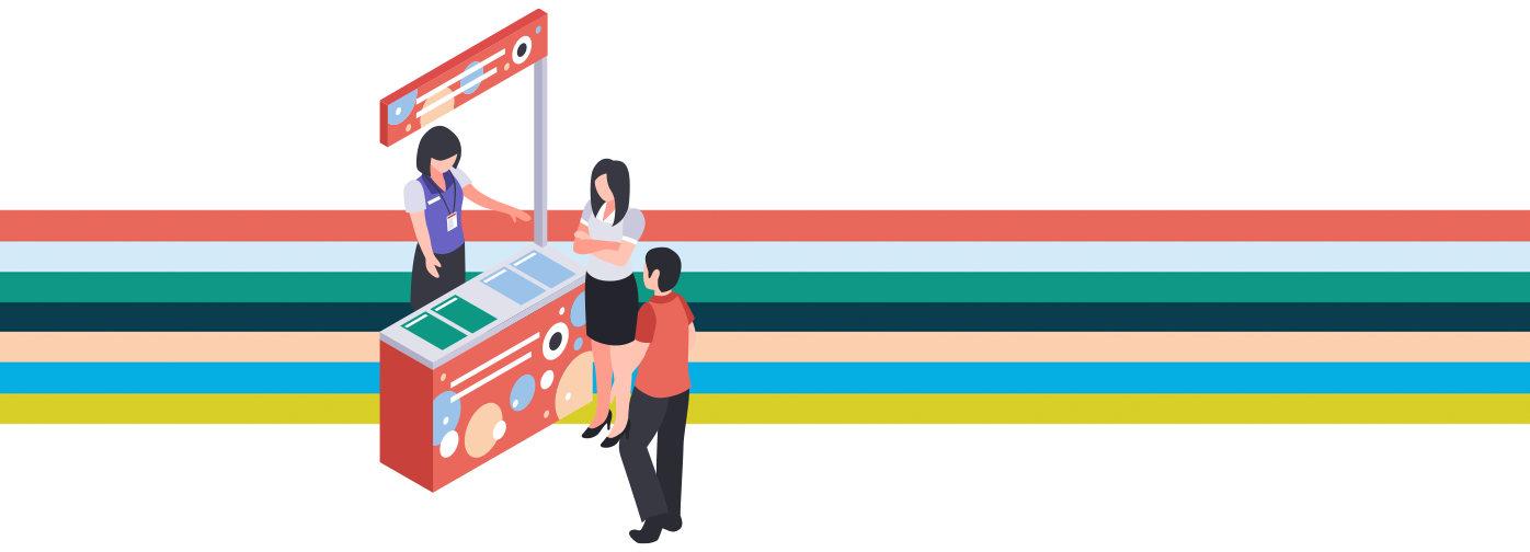 graphic of two people standing on opposing sides of a sales kiosk