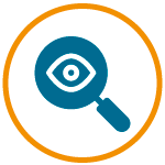 Vector icon of a magnifying class