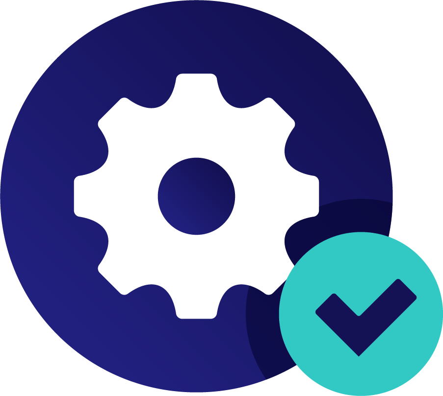 Icon of a gear and a checkmark