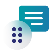 Icon of text lines and braille symbol