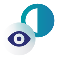 Icon of a half circle and an eye