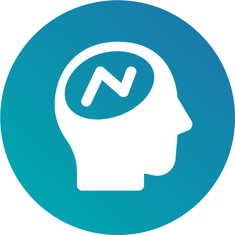 Icon of a human profile with neurological limitations