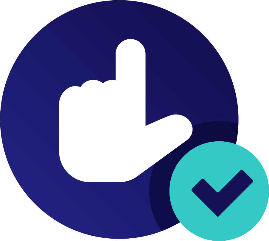 Icon of a hand and a checkmark