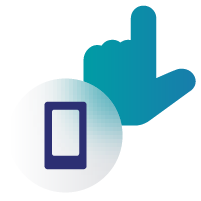 Icon of a hand and a mobile device