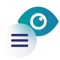 Icon of an eye and text lines
