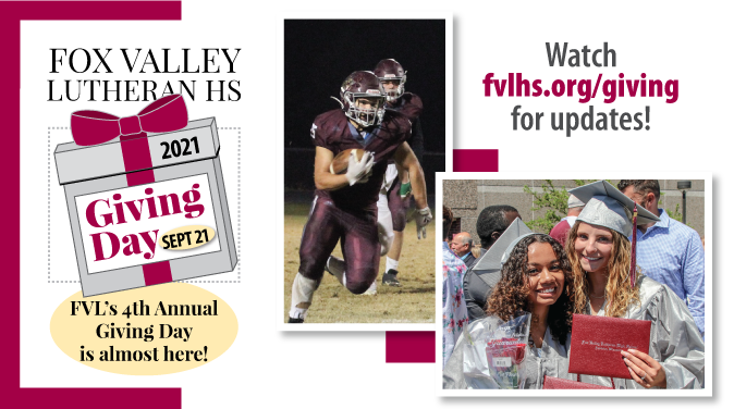 Giving Day logo, football photo, two girl graduates, and watch fvlhs.org/giving for updates