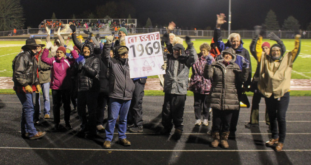 Class of 1969 being honored during halftime at the 2019 Homecoming game