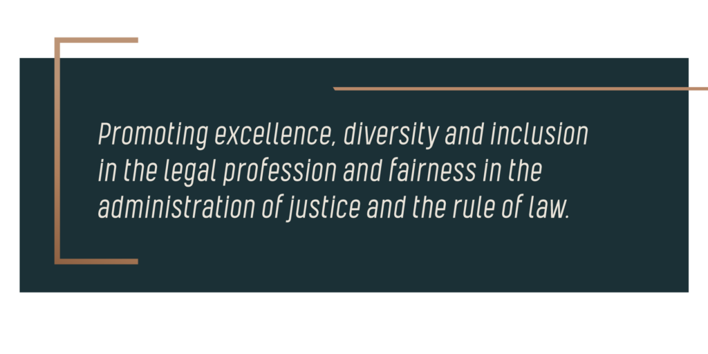 Image reads: Promoting excellence, diversity and inclusion in the legal profession and fairness in the administration of justice and the rule of law