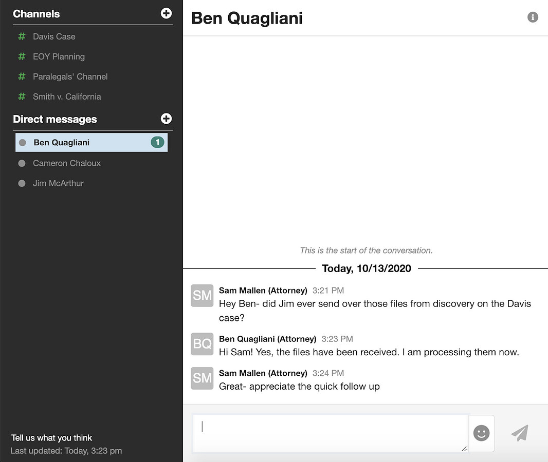 screenshot of chat function in MyCase